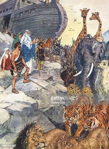 Noah leaves the ark with two of every kind of animal Caption reads Jehovah told Noah to come forth from the ark Genesis 8 Illustration by C E Brock...