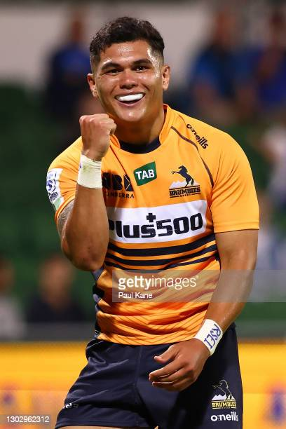 Noah Lolesio of the Brumbies celebrates a try during the round one Super RugbyAU match between the Western Force and the Brumbies at HBF Park, on...