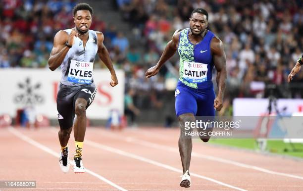 Noah Lyles and US Justin Gatlin compete in the Men 100m during the IAAF Diamond League competition on August 29 in Zurich.