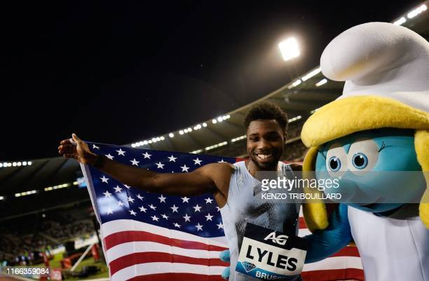 Noah Lyles celebrates after winning in the Men's 200m race during the IAAF Diamond League competition on September 6, 2019 in Brussels.