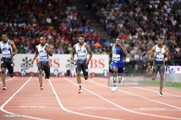 Noah Lyles competes and wins the Men 100m during the IAAF Diamond League competition on August 29 in Zurich.