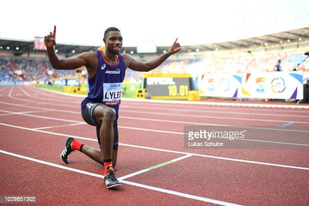 Noah Lyles of Team Americas celebrates victory following the Mens 100 Metres during day two of the IAAF Continental Cup at Mestsky Stadium on...