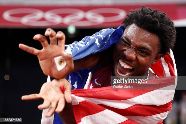 Noah Lyles of Team United States celebrates after winning the bronze medal in the Men's 200m Final on day twelve of the Tokyo 2020 Olympic Games at...