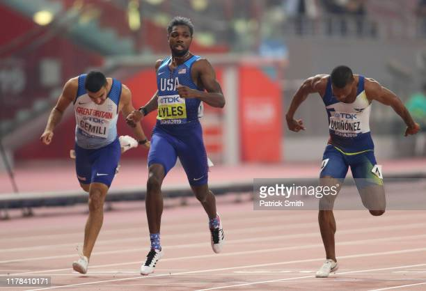 Noah Lyles of the United States Alex Quiñónez of Ecuador and Adam Gemili of Great Britain compete in the Men's 200 Metres final during day five of...