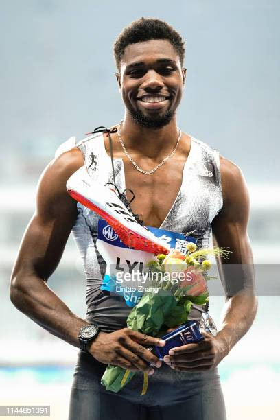 Noah Lyles of the United States celebrates after winning the Men's 100 Meter Final of the 2019 IAAF Diamond League at Shanghai Stadium on May 18 2019...