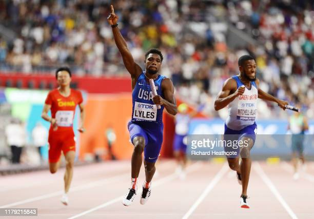 Noah Lyles of the United States celebrates gold in the Men's 4x100 Metres Relay during day nine of 17th IAAF World Athletics Championships Doha 2019...