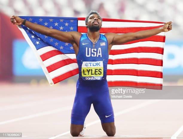 Noah Lyles of the United States celebrates winning the Men's 200 Metres final during day five of 17th IAAF World Athletics Championships Doha 2019 at...