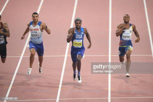 Noah Lyles of the United States competes in the Men's 200 Metres final during day five of 17th IAAF World Athletics Championships Doha 2019 at...