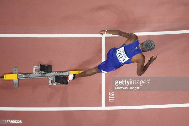Noah Lyles of the United States competes in the Men's 200 Metres heats during day three of 17th IAAF World Athletics Championships Doha 2019 at...