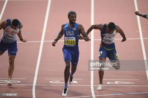 Noah Lyles of the United States crosses the finish line to win the Men's 200 Metres final during day five of 17th IAAF World Athletics Championships...