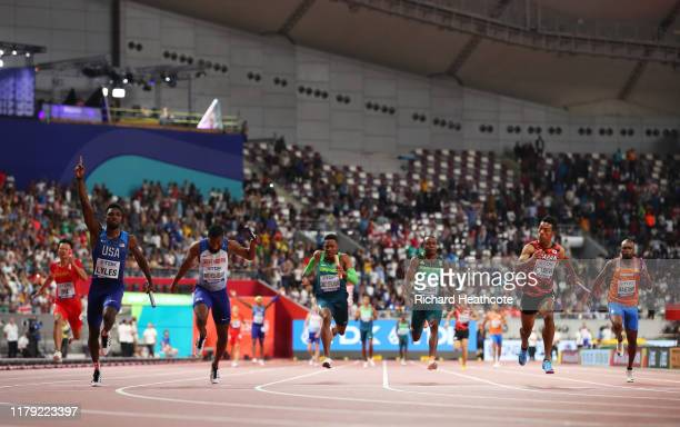 Noah Lyles of the United States gold and Nethaneel MitchellBlake of Great Britain silver and Abdul Hakim Sani Brown of Japan bronze compete in the...