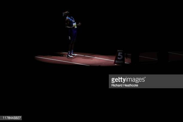 Noah Lyles of the United States of America competes in the Men's 200 Metres final during day five of 17th IAAF World Athletics Championships Doha...