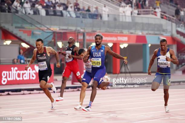 Noah Lyles of the United States wins the Men's 200 Metres final during day five of 17th IAAF World Athletics Championships Doha 2019 at Khalifa...