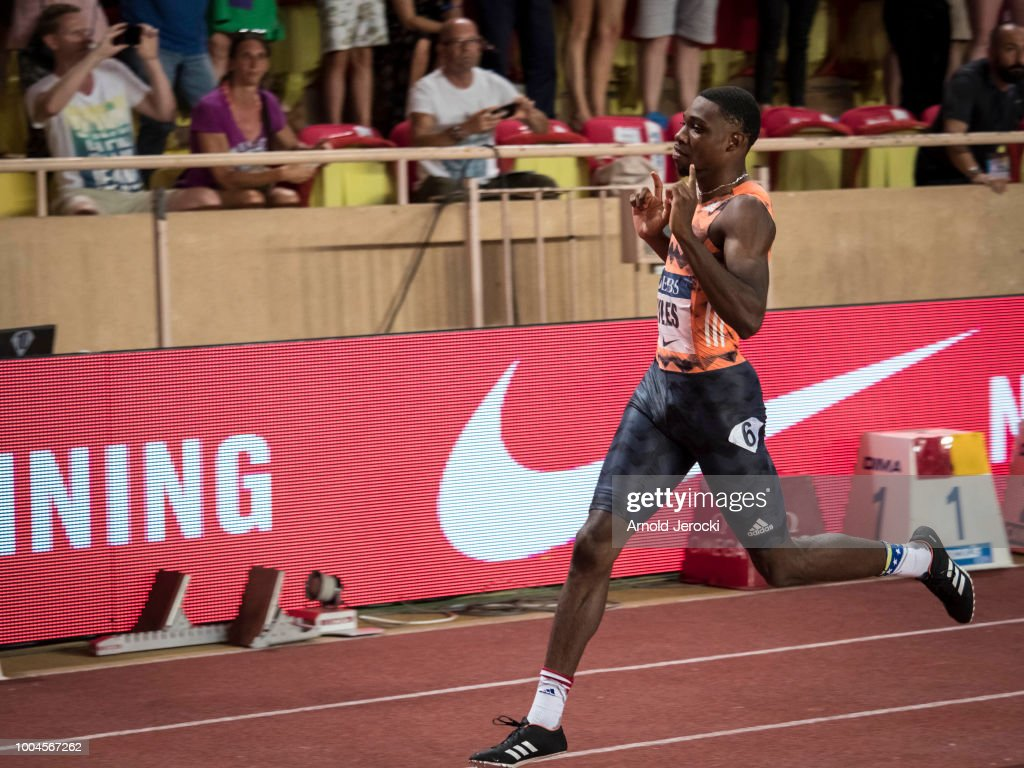 Noah Lyles of the US celebrates after victory in the men's 200 metres at the IAAF Diamond League athletics 'Herculis' meeting at The Stade Louis II on July 20, 2018 in Monaco, Monaco.