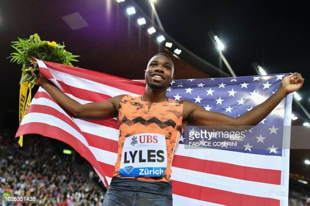 TOPSHOT Noah Lyles of the US celebrates winning in the men's 200 metres race during the IAAF Diamond League Weltklasse athletics meeting at the...