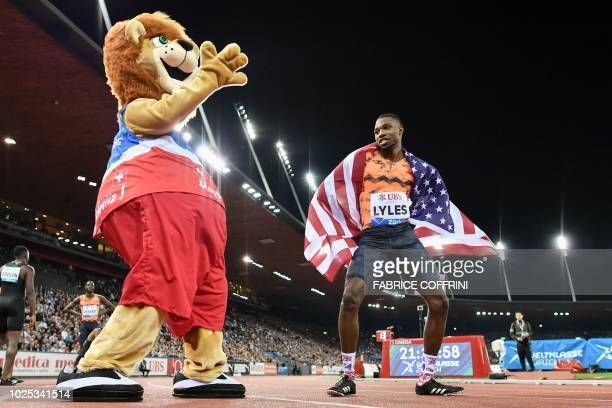 Noah Lyles of the US dances as he celebrates winning in the men's 200 metres race during the IAAF Diamond League Weltklasse athletics meeting at the...