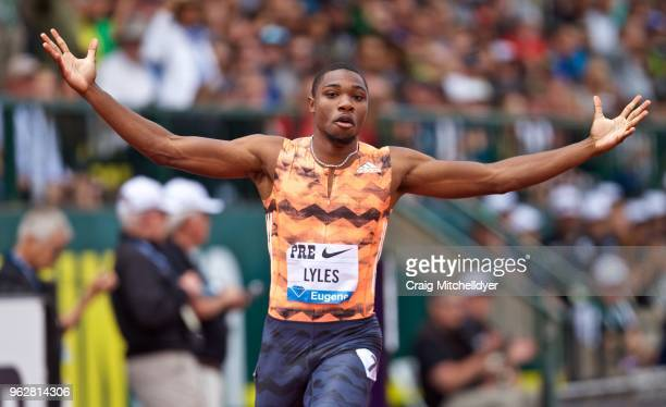 Noah Lyles of the USA wins the men's 200 meters during the 2018 Prefontaine Classic at Hayward Field on May 26 2018 in Eugene Oregon