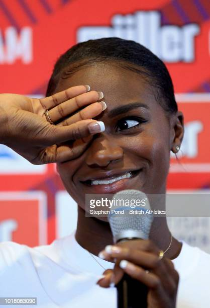 Noah Lyles of USA speaks during a press conference ahead of the Muller Grand Prix Birmingham IAAF Diamond League event on August 17 2018 in...