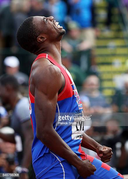 Noah Lyles reacts after breaking the High School world record and placing fourth in the Men's 200 Meters Final during the 2016 US Olympic Track Field...