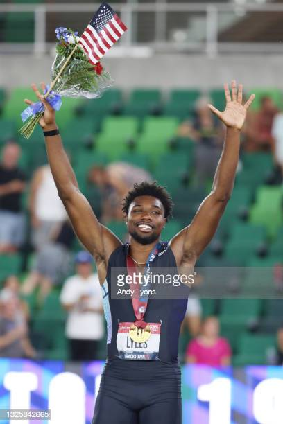 Noah Lyles reacts after winning the Men's 200 Meter Final during day ten of the 2020 U.S. Olympic Track & Field Team Trials at Hayward Field on June...
