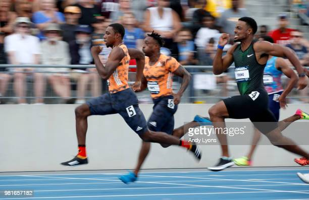 Noah Lyles runs to victory in the semifinals of the Mens 100 Meter during day 2 of the 2018 USATF Outdoor Championships at Drake Stadium on June 22...