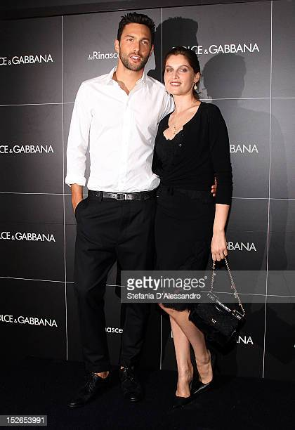 Noah Mills and Laetitia Casta attend the Dolce Gabbana Perfume Launch as part of Milan Fashion Week Womenswear S/S 2013 at La Rinascente on September...