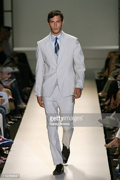 Noah Mills wearing Kenneth Cole Spring 2006 during Olympus Fashion Week Spring 2006 Kenneth Cole Runway at Bryant Park in New York City New York...