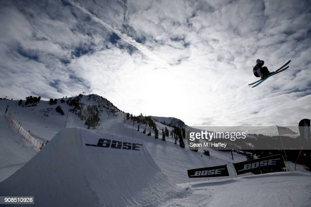Noah Morrison of Canada competes in the final round of the Men's Freeski Slopestyle during the Toyota US Grand Prix on on January 21 2018 in Mammoth...