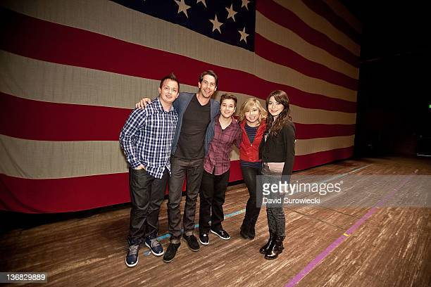 Noah Munck Jerry Trainor Nathan Kress Jennette McCurdy and Miranda Cosgrove pose onstage at the auditorium at Naval Submarine Base New London on...