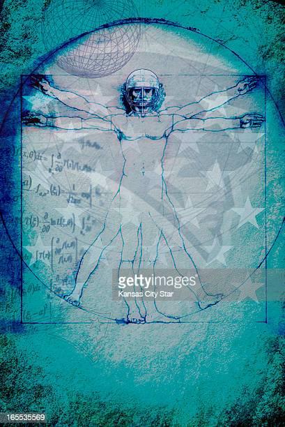 Noah Musser color illustration of Da Vinci's Vitruvian Man in football helmet