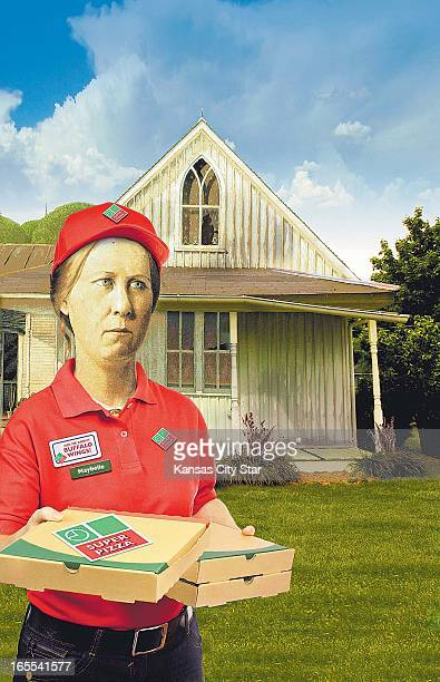 Noah Musser color illustration of the woman from Grant Woods' famous painting 'American Gothic' sans her husband and wearing a pizza delivery outfit