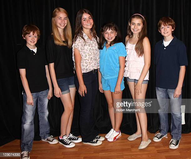 Noah Radcliffe Leah Greenhaus Alison Jaye Horowitz Sarah Safer Rachel Resheff and Ben Radcliffe attend The Kid Who Would be Pope cast photocall at...