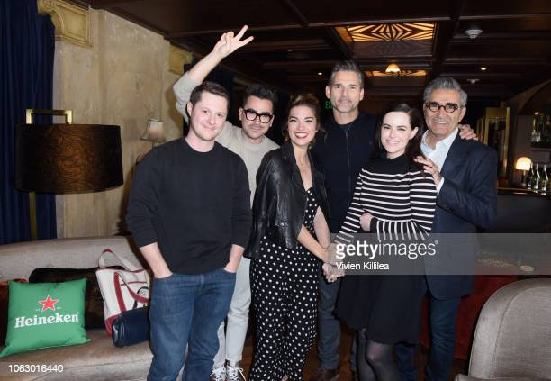 Noah Reid Dan Levy Annie Murphy Eric Bana Emily Hampshire and Eugene Levy attend the Heineken Green Room during Vulture Festival presented by ATT at...