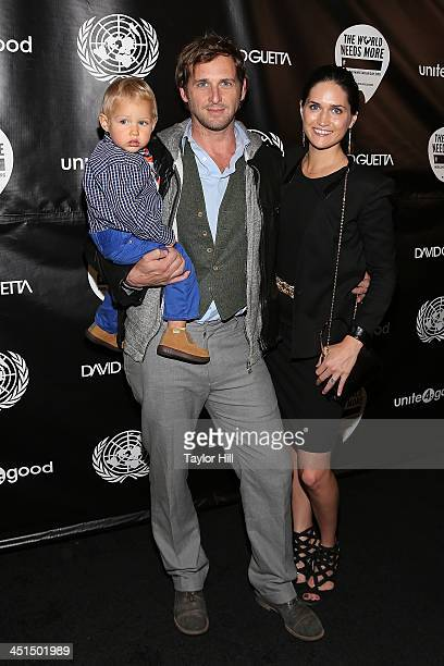 Noah Rev Maurer actor Josh Lucas and author Jessica Hernandez attend the David Guetta One Voice Music Video Premiere at United Nations on November 22...