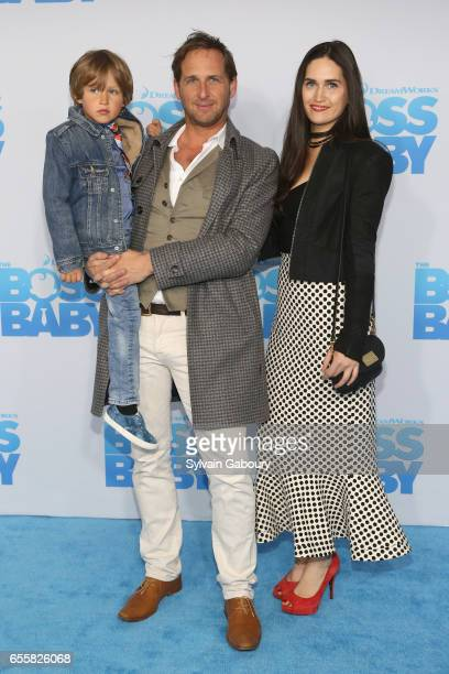 Noah Rev Maurer Josh Lucas and Jessica Ciencin Henriquez attend The Boss Baby New York Premiere on March 20 2017 in New York City