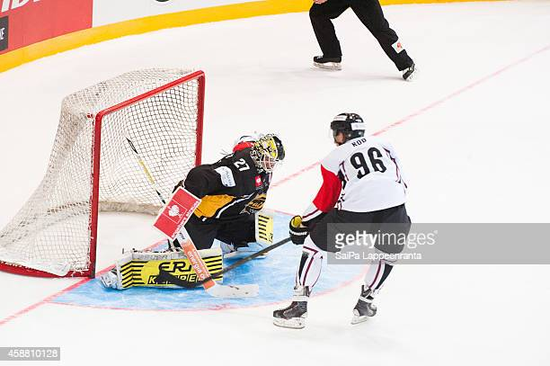 Noah Rod of Geneve Servette shoots at goal during the Champions Hockey League round of 16 second leg game between SaiPa Lappeenranta and...