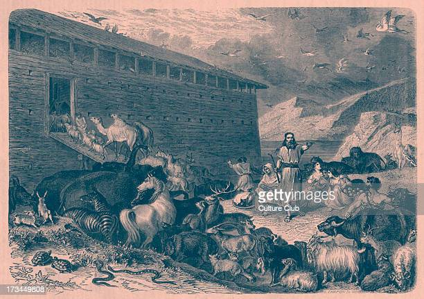 Noah 's ark Noah takes his family and the animals onto the ark 'And of every living thing of all flesh two of everty sort shall thou bring into the...
