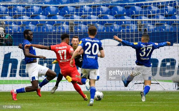 Noah Saranren Bazee of Augsburg scores his team's second goal during the Bundesliga match between FC Schalke 04 and FC Augsburg at Veltins-Arena on...