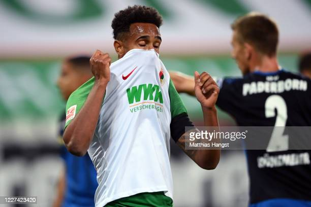 Noah Sarenren Bazee of Augsburg reacts after missing a chance to score during the Bundesliga match between FC Augsburg and SC Paderborn 07 at...