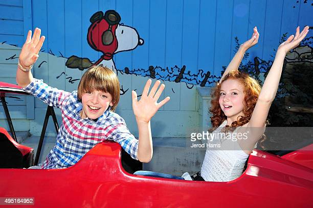 Noah Schnapp and Francesca Capaldi attend 'The Peanuts Movie' cast photocall at Knott's Berry Farm on October 31 2015 in Buena Park California
