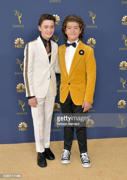 Noah Schnapp and Gaten Matarazzo attend the 70th Emmy Awards at Microsoft Theater on September 17 2018 in Los Angeles California