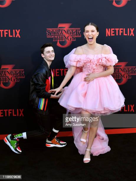 "Noah Schnapp and Millie Bobby Brown attend the premiere of Netflix's ""Stranger Things"" Season 3 on June 28, 2019 in Santa Monica, California."