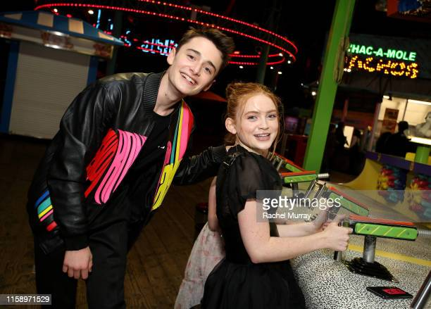 Noah Schnapp and Sadie Sink attend the Stranger Things Season 3 World Premiere on June 28 2019 in Santa Monica California