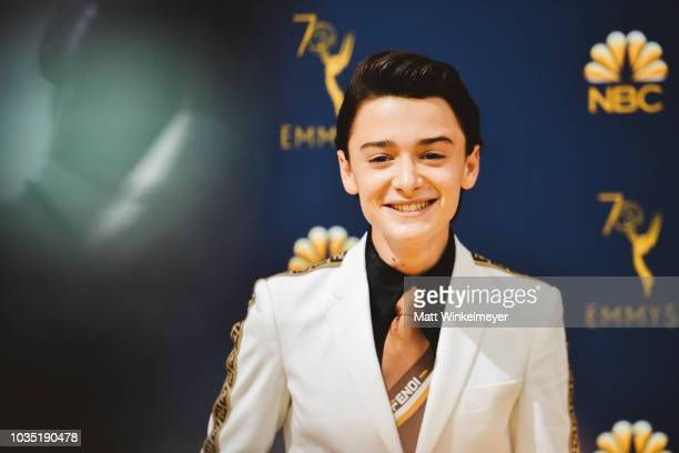 Noah Schnapp arrives at the 70th Emmy Awards on September 17 2018 in Los Angeles California