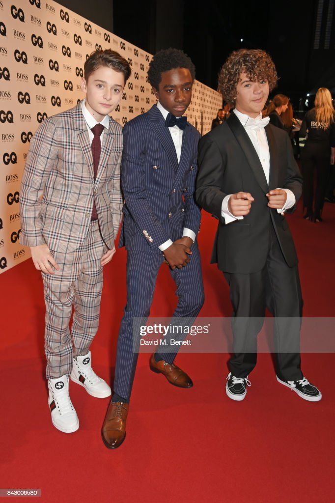 Noah Schnapp, Caleb McLaughlin and Gaten Matarazzo attend the GQ Men Of The Year Awards at the Tate Modern on September 5, 2017 in London, England.