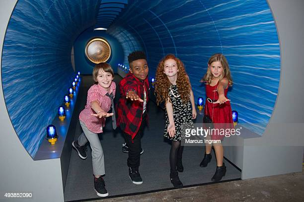 Noah Schnapp Mar Mar Francesca Capaldi and Hadley Belle Miller attend 'Snoopy' and Co receiving his Pilot's 'Wings' ceremony at Delta flight Museum...