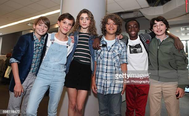 Noah Schnapp Millie Bobby Brown Natalia Dyer Gaten Matarazzo Caleb McLaughlin and Finn Wolfhard attend Build series to discuss 'Stranger Things' at...