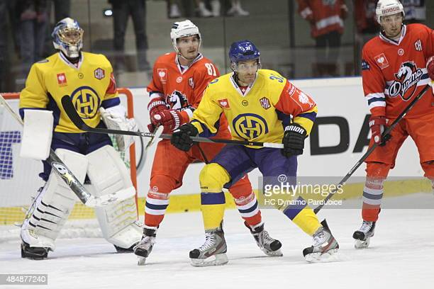 Noah Schneeberger of HC davos defends Jan Scotka of HC Dynamo during the Champions Hockey League group stage game between Dynamo Pardubice and HC...