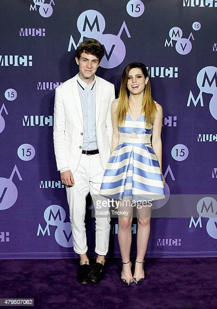 Noah Sierota and Sydney Sierota of Ecosmith pose in the press room at the 2015 Much Music Video Awards at MuchMusic HQ on June 21 2015 in Toronto...