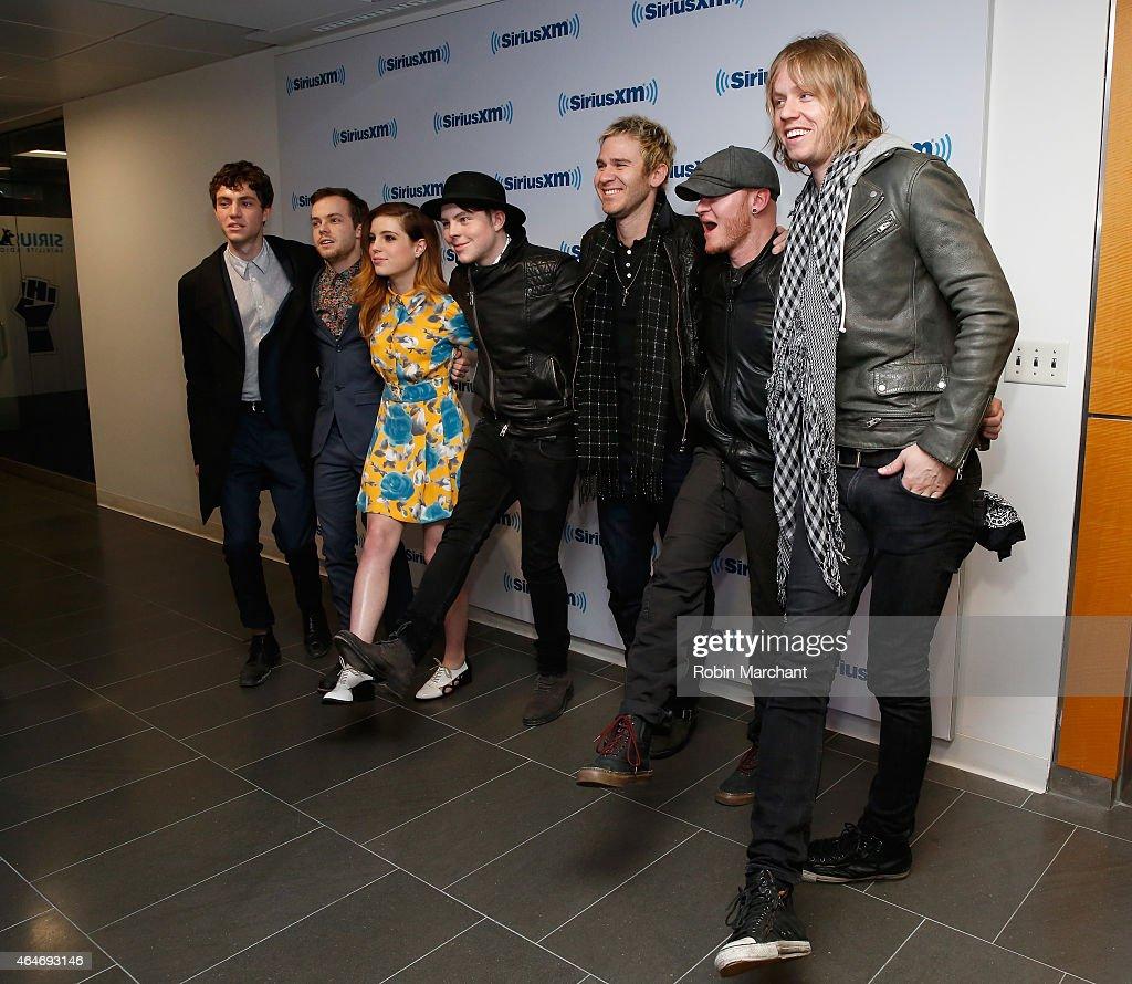 Noah Sierota, Jamie Sierota, Sydney Sierota and Graham Sierota of Echosmith with Jason Wade, Rick Woolstenhulme Jr. and Bryce Soderberg of Lifehouse vist at SiriusXM Studios on February 27, 2015 in New York City.